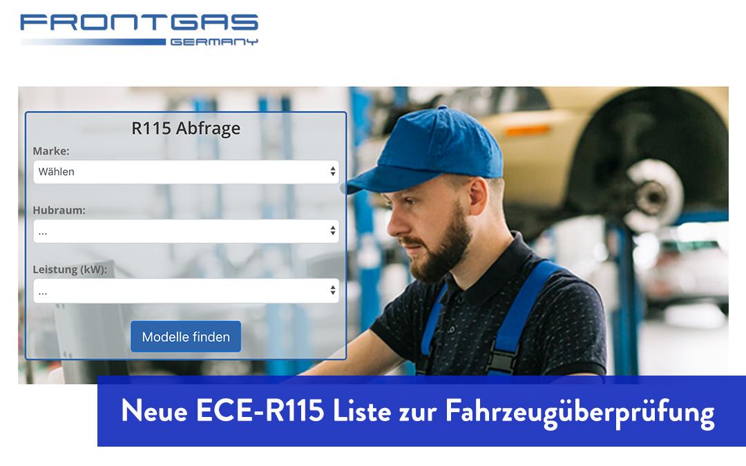 Neue ECE-R115 Liste bei Frontgas Germany zur Überprüfung der Fahrzeug