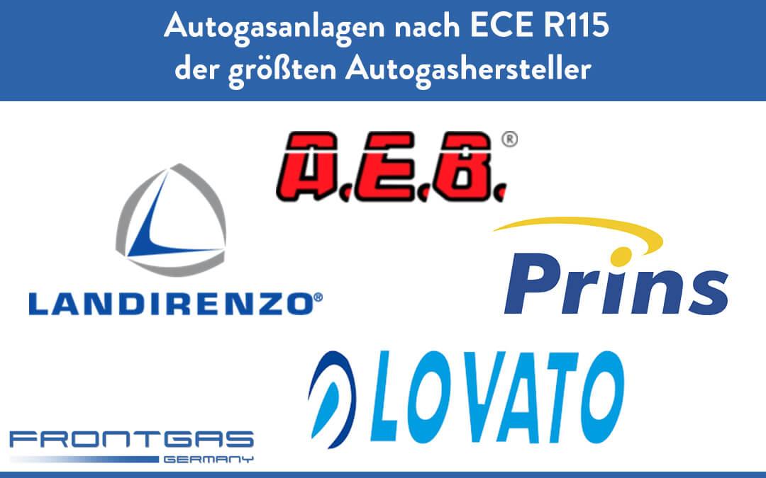 Autogasanlagen nach ECE R115 der größten Autogashersteller Prins ,Landirenzo, Lovato, AEB und Frontgas