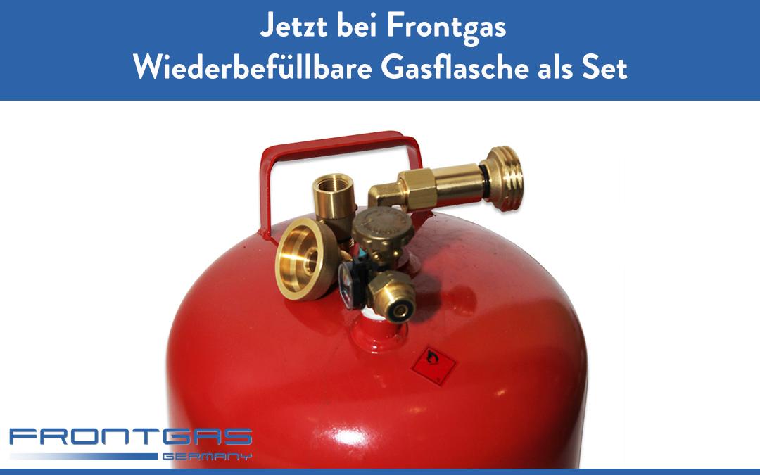 Wiederbefüllbare Gasflasche als Set inkl. Füllschlauch, Außenbetankung und Europa Adapter