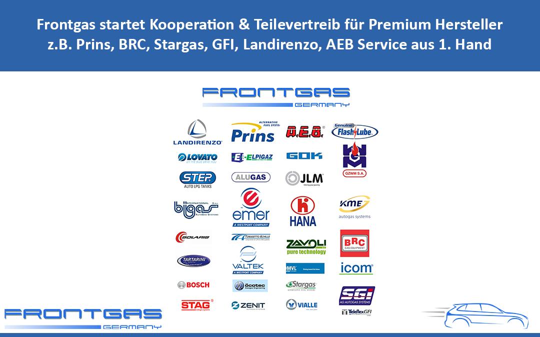 Frontgas startet Kooperation & Teilevertreib für Premium Hersteller z.B. Prins, BRC, Stargas, GFI, Landirenzo, AEB Service aus 1. Hand