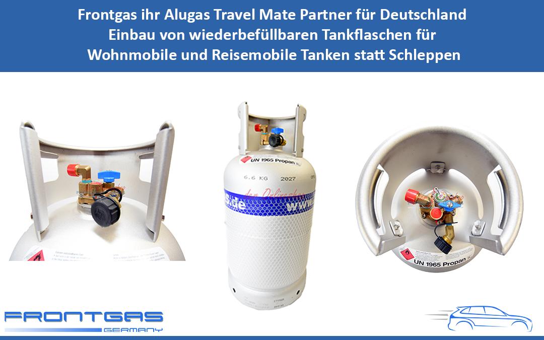 Frontgas ihr Alugas Travel Mate Partner für Deutschland Einbau von wiederbefüllbaren Tankflaschen für Wohnmobile und Reisemobile Tanken statt Schleppen